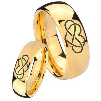 Bride and Groom Infinity Love Dome Gold Tungsten Mens Engagement Band Set