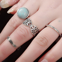 Vintage Retro Old Silver 6 Pcs Ring Gift-173