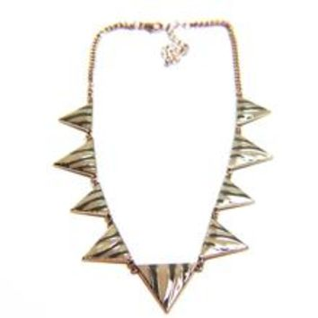 Zebra Animal Print Triangle Enamel Chain Necklace