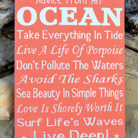 Advice From An Ocean Inspirational Original Beach Rules Lessons Wood Sign Coral Rustic Hand Painted Custom Wooden Plaque