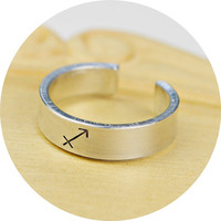 Any Zodiac Sign Adjustable Ring- Hand Stamped Aluminum Zodiac Symbol Ring - Any Size- Size 4, 5, 6, 7, 8, 9, 10, 11, 12