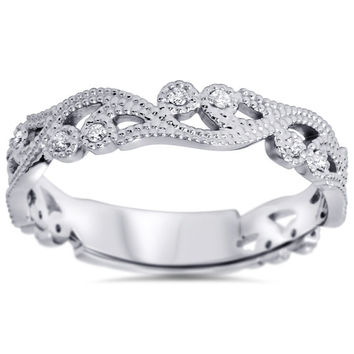 Diamond Vintage Ring 14K White Gold Antique Style Filigree Milgrain Stackable Wedding Band Size 4-9