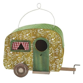 Decorative Camper Birdhouse (Green Floral)