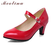Meotina Fashion Shoes Women Pumps Spring Pointed Toe Mary Jane Chunky Medium Heels Plain Red Gold Ladies Shoes Size 34-39