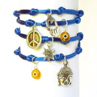 Buddha Evil Eye Hamsa Peace Sign Blue Wrap by charmeddesign1012