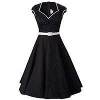 MUXXN® Women Pinup Vintage 1950's Polka Dot Rockabilly Wiggle Dress