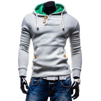 Men's Slim Pullover Hoodies Double Pocket Long Sleeve Casual Sudaderas Solid Hoodies Men Size M-XXL Free Shipping