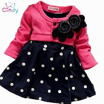 Girl Long-Sleeved Polka Dot Flower Dress
