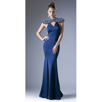 Cinderella Divine CC8026 Navy Blue Mermaid Formal Gown Open Back
