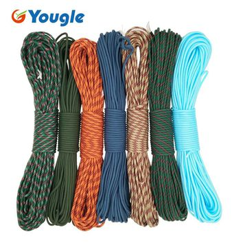 YOUGLE outdoor camping Paracord Parachute Cord Lanyard Rope Mil Spec Type III 7 StrandS 100FT tent fixed wind rope 123-129