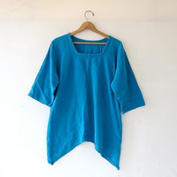 vintage slouchy blue top. oversized short sleeve shirt