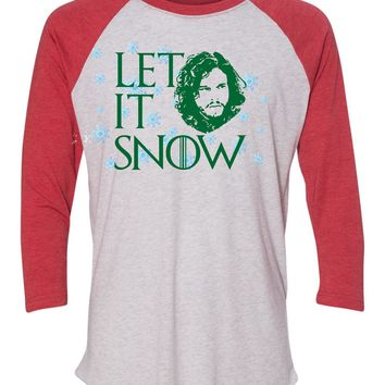 Let is Snow - Jon Snow Game of Thrones Christmas Holidays Baseball Shirt - Ugly but cute Christmas Sweather!