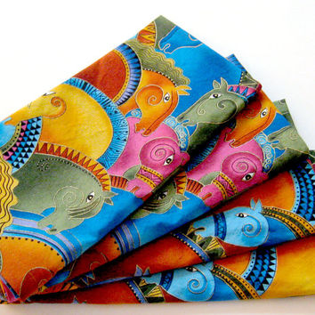 Cloth Napkins - Set of 4 - Bright Horses Blue Green Pink Orange Gold - Dinner, Table, Everyday, Wedding