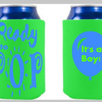 It's A Boy!, baby shower coozies, ready to pop shower gifts, fun shower favors, summer shower favors, baby shower for boys, it's a boy theme