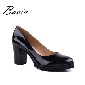 Bacia High Quality Genuine Leather Oxford Shoes For Women Slip-on Office Ladies Shoes Casual Round Toe Heels Women Shoes VE005