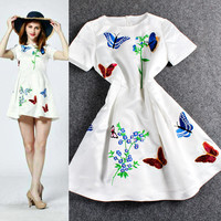 White Short Sleeves Butterfly Floral  A-Line Swing Dress