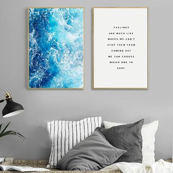 Ocean Waves Wall Art Poster And Prints For Living Room Nordic Decoration , Blue Waves Canvas Painting Wall Pictures Home Decor