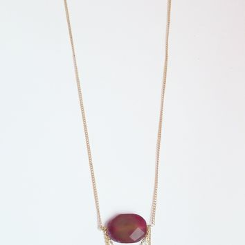 Pink Agate Draped Chain Necklace