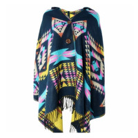 Women's Boho Aztec Tribal Cardigan Wrap Hooded Scarf Shawl Cape