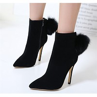 Fashion All-match Suede Rabbit Hair Stiletto Heels Shoes Women Pointed-toe Short Boots
