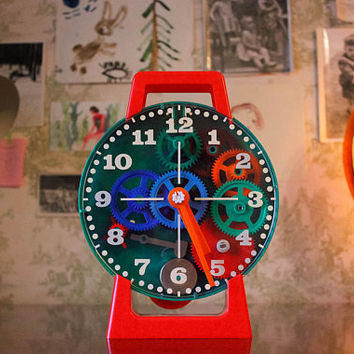 Soviet Clock Constructor / RARE Large Colourful DIY Clock Building Kit for Children / USSR Vintage Mechanical Table Top Clock w. Chime Model