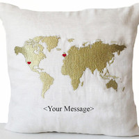 Linen Pillow Cover -World Map With Heart, Custom Message Embroidery -18x18 -Long Distance Relationship Pillow Love Pillow-Valentine -Wedding