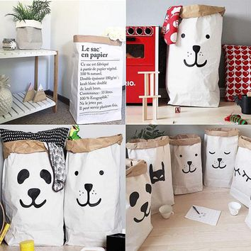 Cute Heavy Kraft Paper Storage Bags Baby Toys Kraft Paper bag Laundry Bag Toys Clothes Organizer Tool Hot