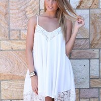 White Flowy Sleeveless Dress with Lace Trim Detail