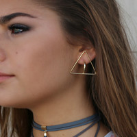 Unite Gold Triangle Earrings