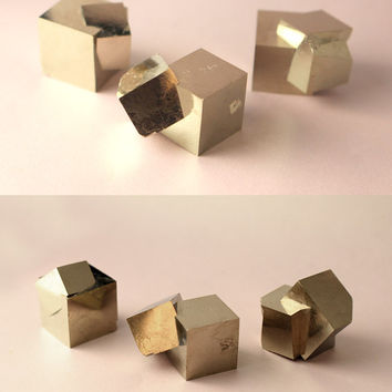 One Small Pyrite Cube from Navajún Spain - Twinned Crystal - Fool's Gold Victoria Mine - Free Shipping