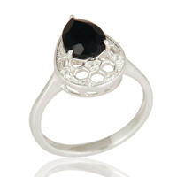 925 Sterling Silver Black Onyx Solitaire Gemstone Engagement Ring For Women