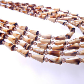 Hobe Multi Strand Necklace Earrings Set Tortoise Shell