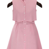 Pink Collar Sleeveless Skater Mini Dress with Front Button