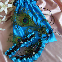 Peacock Feather Bridal Garters and Drawstring Bag Turquoise and Black Weddings