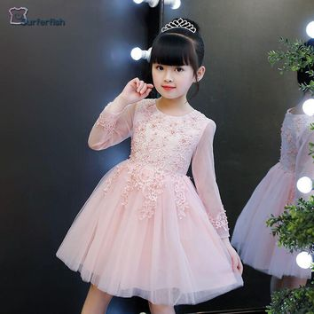 Surferfish girls Children Dress Long sleeve Party Holiday Wedding Wear Formal Dress Tulle Princess Dress 2 Colors 4-12T