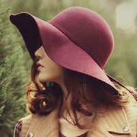 Fashion Vintage Fedoras Hats for Women 2017 Cotton Bowler Jazz Top Cap Felt Wide Brim Floppy Sun Beach Church Cap Gorros
