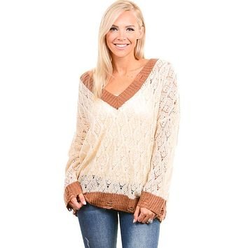 Ivory Open Weave Distressed Sweater
