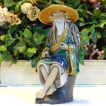 Vintage Chinese Fisherman Figurine Made in China Oriental Fisherman