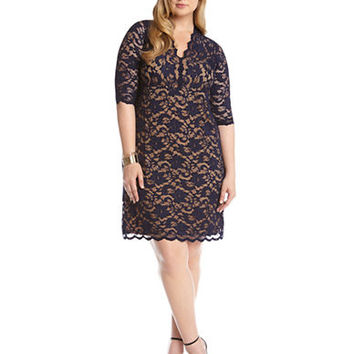 Karen Kane Plus Plus Scalloped Lace Shift Dress