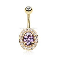 Golden Sparkle Prong Gem Belly Button Ring (Clear/Purple)