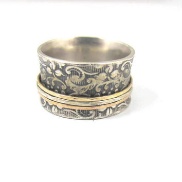 Wide Cigar Band Spinner Ring, 14K Tri Color Gold Oxidized Sterling, Organic Vine Leaf Imprint, Unique Wedding Band, Artisan David Tishbi