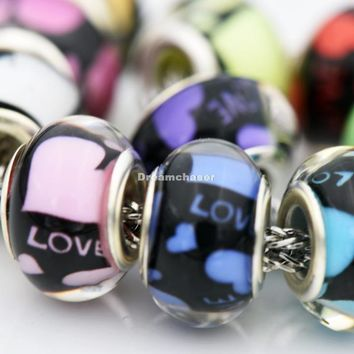 Charm Bracelets Beads 50Pcs/Lot Mixed LOVE & Heart Smooth Acrylic Resin Plastic Bangle