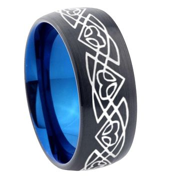 8mm Celtic Braided Dome Tungsten Carbide Blue Wedding Band Mens