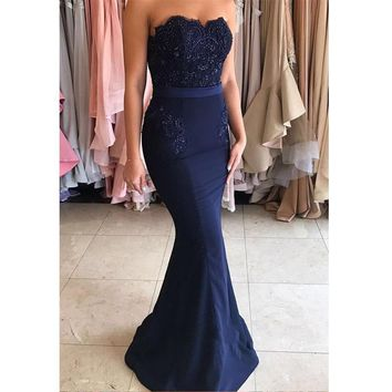 2017 Royer Blue Wedding Party Dress Maid of Honer Mermaid Beaded wedding Guest dress Chiffon Formal Long Bridesmaid Dresses