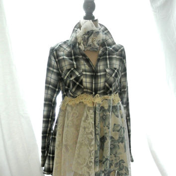 Romantic Lagenlook tunic, punk duster, fall flannel, tartan, shabby RESERVED for D Cottage Country, altered couture, true rebel clothing, SM