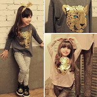 Warm Fleece Clothes Spring Suits Warm Fleece Clothes Hot Girls Spring Leopard Grain and Long Sleeve Suits Fashion Kids Round Collar and