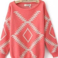 Pink Geometry Loose Sweater