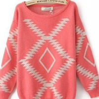 Light Red Vintage Diamond Loose Sweaters