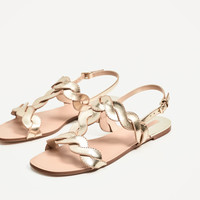 GOLDEN PLAITED FLAT SANDALS DETAILS