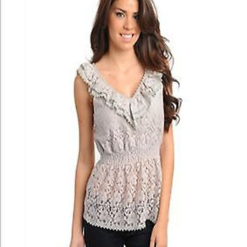 Women Fashion Eyelet Sleeveless Gray Lace Top Blouse Shirt Casual Boho Cinched Waist